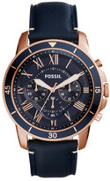 Fossil Grant Sport Blue Leather And Stainless Steel Watch