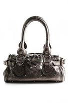Chloé Silver Metallic Leather Small Lock Flap Satchel Paddington Handbag BY4860C