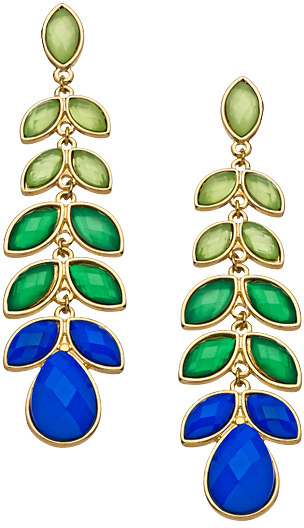 Blu Bijoux Blue Green Long Stem Earrings