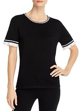 Karl Lagerfeld Paris Ruffle Trim Short-Sleeve Sweater