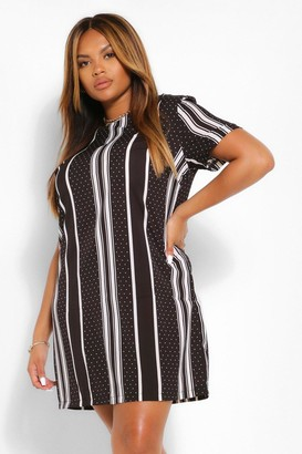 boohoo Plus Polka Dot Stripe Shift Dress