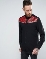 Asos Regular Fit Shirt With Sequin Western Detail