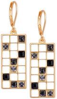 T Tahari Gold-Tone Scattered Crystal Grid Drop Earrings