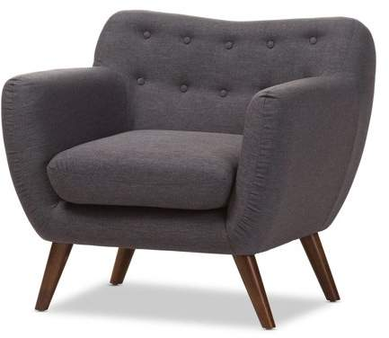 Outstanding Harper Mid Century Modern Dark Grey Fabric Upholstered Walnut Wood Button Tufted Armchair Bralicious Painted Fabric Chair Ideas Braliciousco