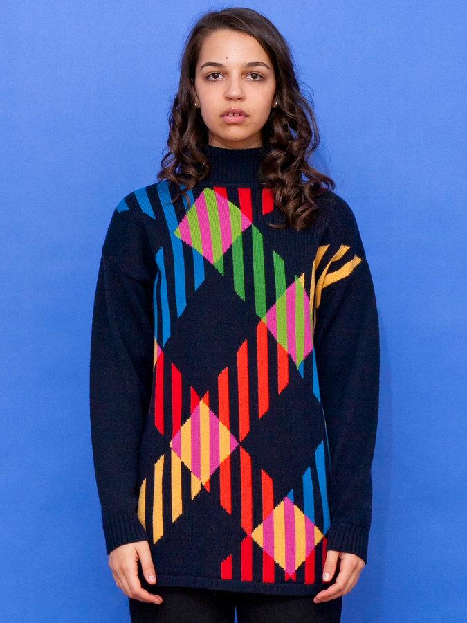 American Apparel Vintage Graphic Plaid Wool Turtleneck Sweater