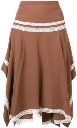 Chloé lace-embellished draped skirt