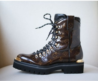 Louis Vuitton Brown Cloth Ankle boots