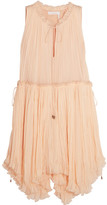 Chloé Pleated Silk-crepon Dress - Peach