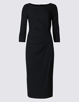 M&S Collection Drape 3/4 Sleeve Shift Midi Dress