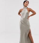 Asos DESIGN Petite choker maxi dress in high shine satin