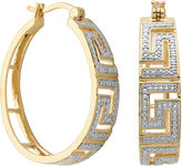SPARKLE ALLURE Classic Treasures Diamond-Accent Greek Key 20mm Hoop Earrings
