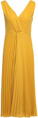 Vince Pleated Crepe De Chine Midi Dress
