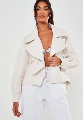 Missguided White Faux Leather Balloon Sleeve Oversized Biker Jacket