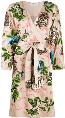 Blumarine Silk Sequin Embellished Kimono Dress