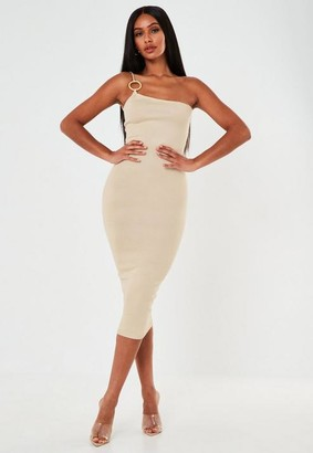 Missguided Sand Faux Bamboo Ring One Shoulder Knit Midi Dress