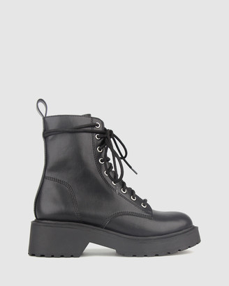 betts Women's Black Lace-up Boots - Hardcore Chunky Lace Up Boots - Size One Size, 6 at The Iconic