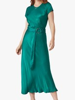 Ghost Reiko Satin Belted Dress, Teal