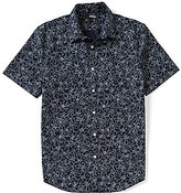 Murano Short-Sleeve Slim-Fit Point Collar Floral Sportshirt