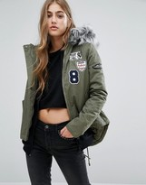 Missguided Badge Faux Fur Collar Parka
