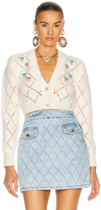Alessandra Rich Wool Cardigan with Floral Details in White | FWRD