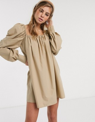 ASOS DESIGN trapeze mini dress in cotton poplin in stone