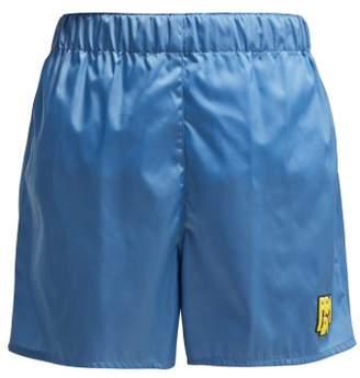 Prada Logo-patch Nylon Shorts - Womens - Light Blue