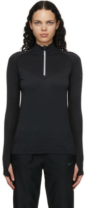 Nike Black Wool Run Division Half-Zip Sweatshirt