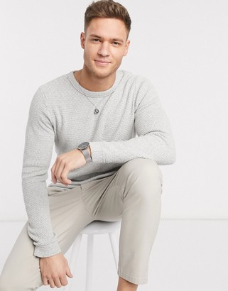 Selected crew neck knitted jumper in light grey