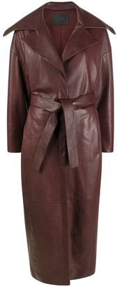 Drome Belted Leather Trench Coat