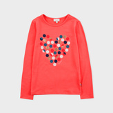 Paul Smith Girls' 2-6 Years Coral 'Spotty Heart' Print T-Shirt