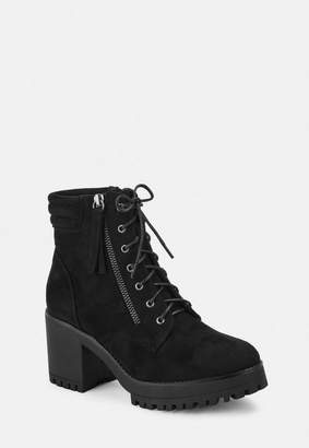 Missguided Black Faux Suede Mid Heel Cleated Sole Ankle Boots