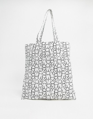 Monki Maja body doodle print tote bag in white