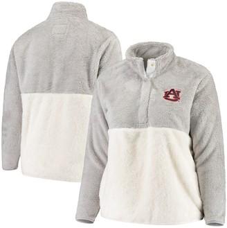 Women's Gray/Cream Auburn Tigers Plus Size Fuzzy Fleece Colorblocked Four-Snap Pullover Jacket