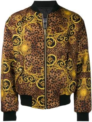 Versace baroque leopard bomber jackets