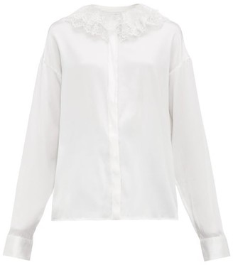 ÀCHEVAL PAMPA Pico Lace-collar Silk-blend Satin Blouse - Womens - White