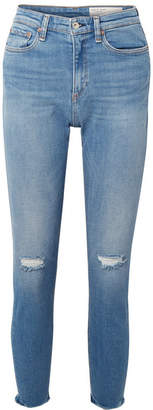 Rag & Bone Nina Distressed High-rise Skinny Jeans - Mid denim