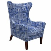 Annie Selke Home Mirage Wingback Chair Upholstery: Geo Blue