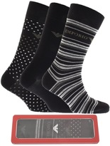 Giorgio Armani Emporio 3 Pack Socks Black