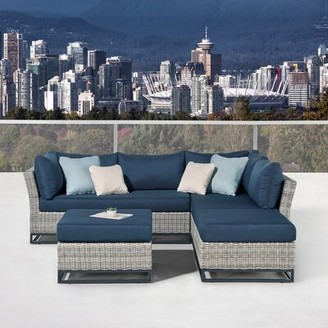 Martha Stewart Clarence Patio 4 Piece Sectional Seating Group with Cushions