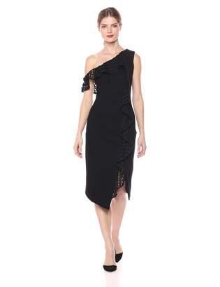 Elliatt Women's Apparel Women's Crystal One Shoulder Ruffle Detail Fitted Sheath Dress