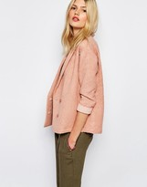 Sessun Aso Textured Blazer in Tan Rose
