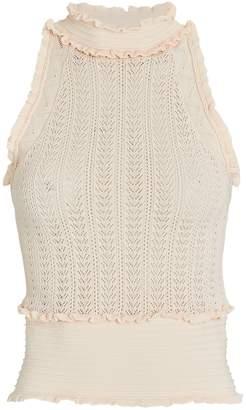 AMUR Reba Ruffled Sleeveless Knit Top