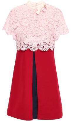 Valentino Corded Lace-paneled Pleated Wool And Silk-blend Mini Dress