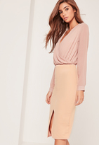 Missguided Textured Ponte Split Front Midi Skirt Nude