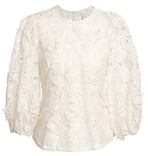 Zimmermann Women's Super 8 Lift Off Floral Lace Puff-Sleeve Blouse