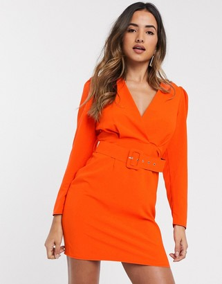 ASOS DESIGN puff sleeve wrap front mini dress with belt in orange