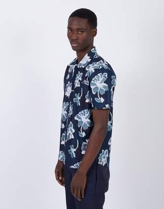 The Idle Man - Short Sleeve Printed Shirt Navy