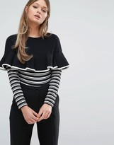 Fashion Union Frill And Stripe Long Sleeve Body