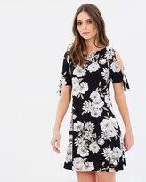 Wallis Mono Drawn Floral Tie Sleeve Dress