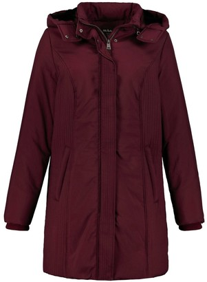 Ulla Popken Long Hooded Coat with Faux Fur Lining and Pockets
